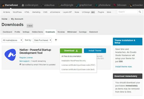 themeforest native getting started native support