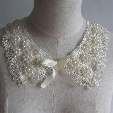 Lace Collar Import White 1 1pcs sell ivory white lace collar pearl rhinestone neckline lace applique neckline applique trim