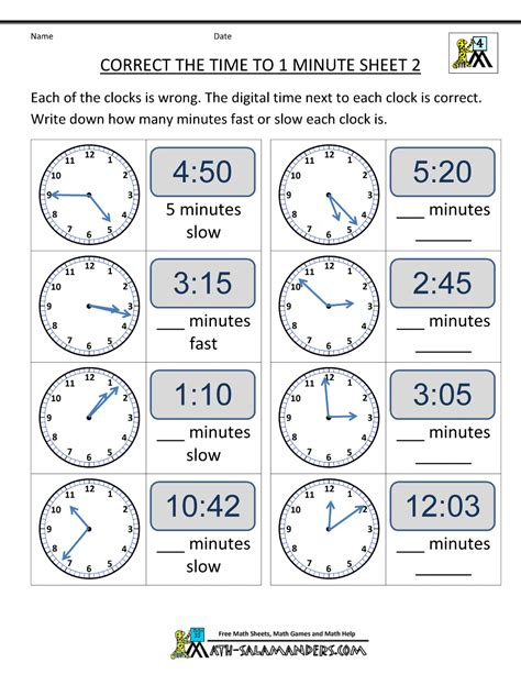 Time To The Hour Worksheets by Clock Worksheets To 1 Minute