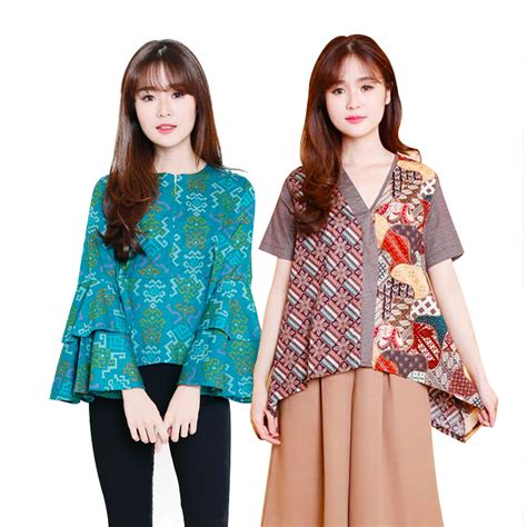 Blouse Combine Atasan Baju Wanita 100 gambar gambar atasan batik modern wanita dengan