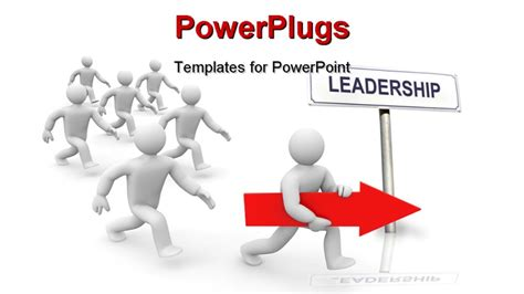 leadership powerpoint templates powerpoint template one white humanoid holding arrrow