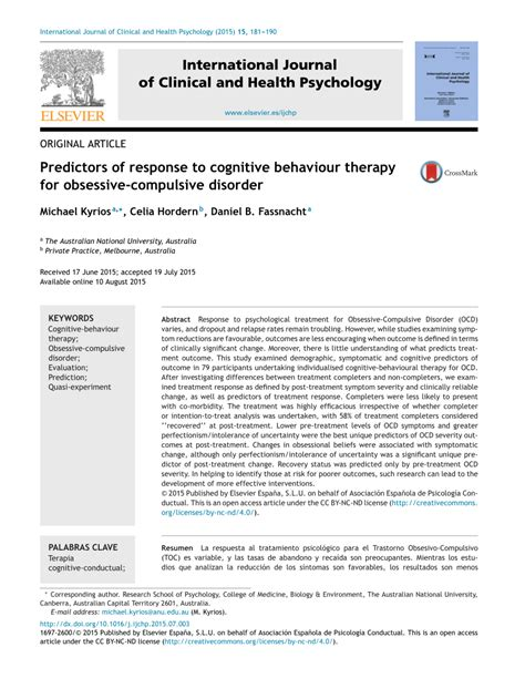 Pdf Predictors Of Response To Cognitive Behaviour