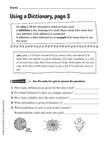 dictionary skills worksheet 2nd grade worksheets for all