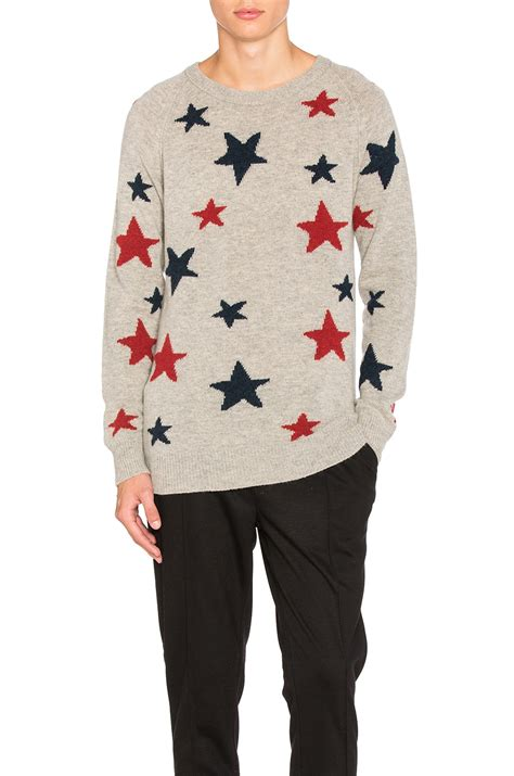 scotch soda sale scotch soda star pattern crewneck sweater grey multi men