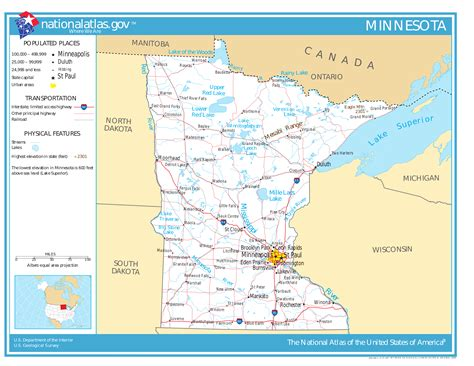 minnesota on the map of usa map of minnesota map worldofmaps net