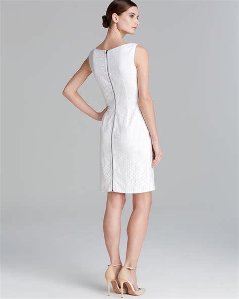Dress Ss39129 Dress White lyst t tahari myra eyelet sheath dress in white