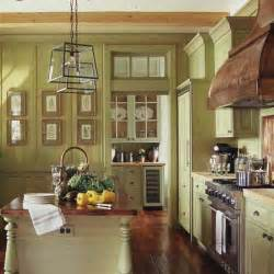 Country Kitchen Paint Color Ideas by Green Yellow Painted Traditional Wood Kitchen Cabinets