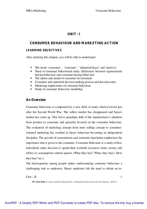 Consumer Behaviour Notes For Mba by 7008203 Consumer Behaviour