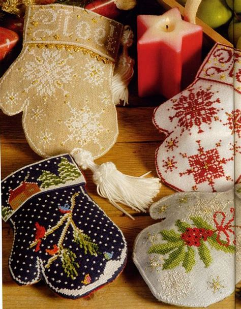 christmas new year s craft ideas embroidered mittens
