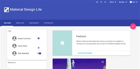 material design website maker material design lite theme