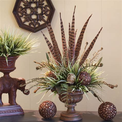 designed by arcadia floral home decor floral design pheasant feather and feather ball floral design nc127 74
