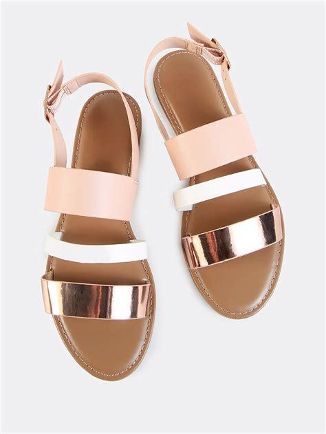 White Cath Flat Sling Back Sandals sling back band sandals gold multi shein
