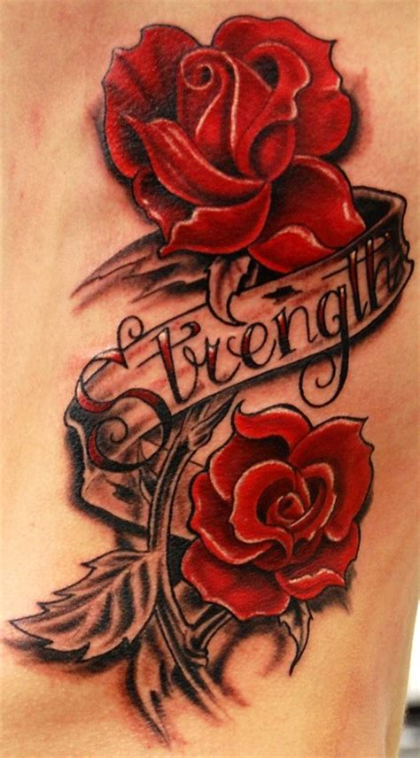 rose strength tattoo strength