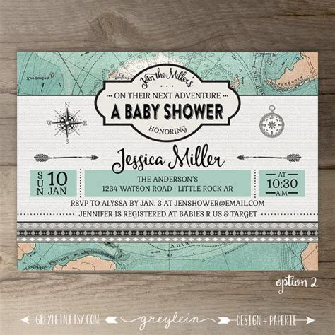 travel theme baby shower invitations vintage map compass