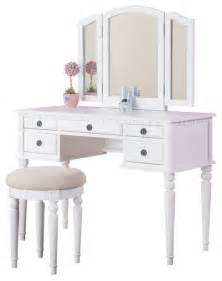 White Vanity Table Tri Folding Mirror Make Up Table Vanity Set Wood W Stool 5 Drawers White Contemporary