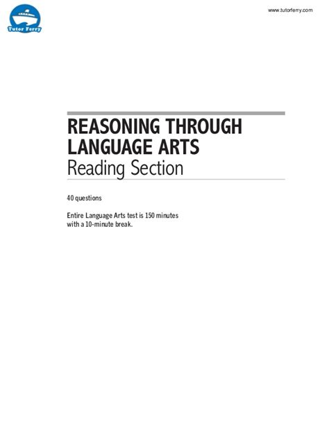 reading section ged reasoning through language arts reading section