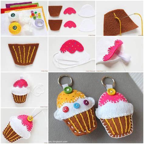 diy felt cupcake key chain
