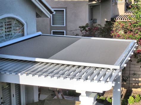 retractable patio cover retractable shade panel on lattice patio cover by superior awning southern california