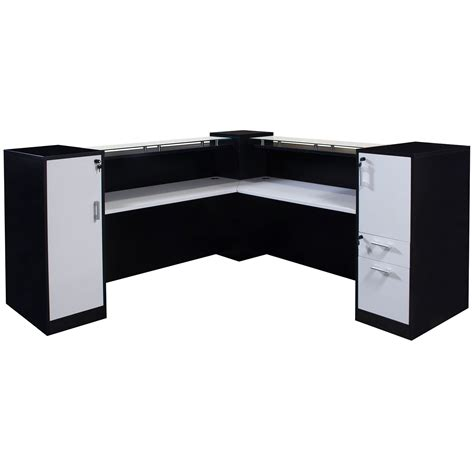 Gosit 7 215 7 Glass Top Reception Desk Black And White Black White Desk