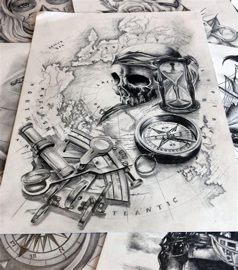 dessin bateau pirate tatouage tatouage boussole tatouage mappemonde tatouage boussole