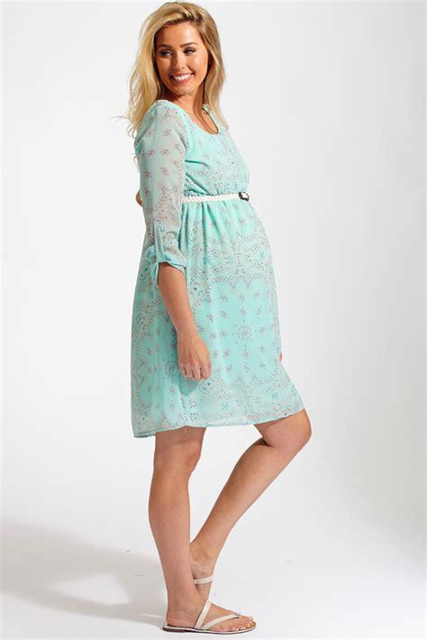 9615 Belted Paisley Print Dress mint green paisley print chiffon belted 3 4 sleeve