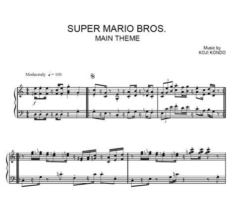 theme music mario super mario brothers main theme sheet music purple