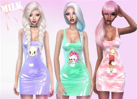 tumblr kawaii sims 4 cc kawaii latex dress by m i l k sims 4 nexus