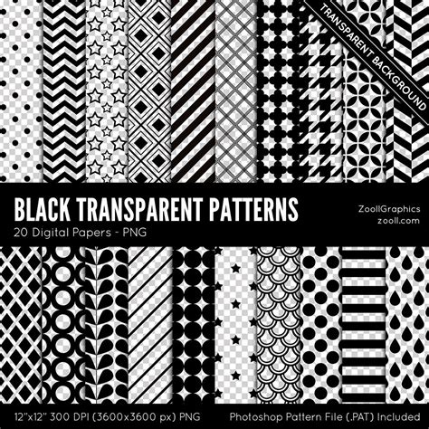 pattern download pat black transparent patterns 20 digital papers 12 x12