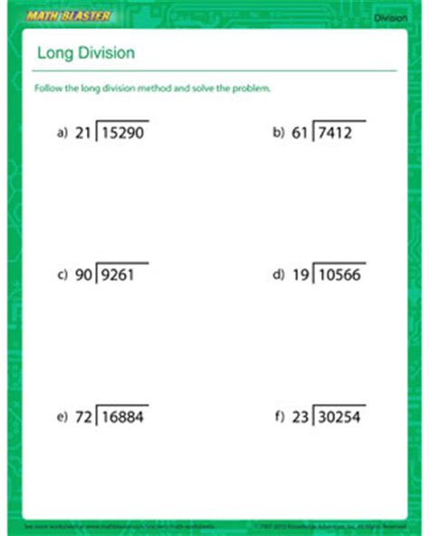 printable long division practice worksheets long division printable division worksheet for kids