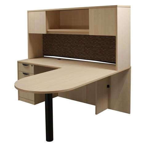 Laminate Left Return L Shape Bullet Desk With Hutch Maple L Shaped Desk With Left Return