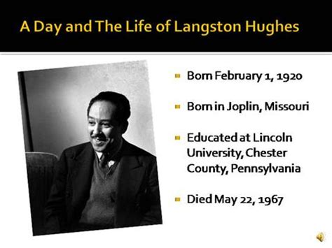biography of langston hughes pdf a day and the life of langston hughes authorstream