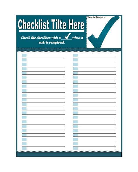 template of checklist 50 printable to do list checklist templates excel word