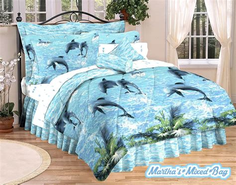 dolphins coastal surf tropical palm leaf 3pc or