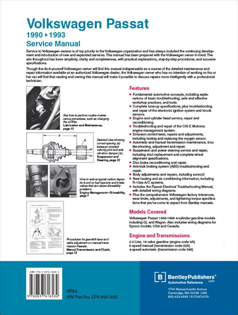 car repair manuals download 1993 volkswagen passat spare parts catalogs back cover vw volkswagen repair manual passat 1990 1993 bentley publishers repair