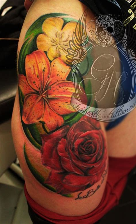 orange rose tattoo lilies tattoos