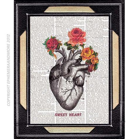 tattooed heart book anatomical heart art print wall decor illustration vintage