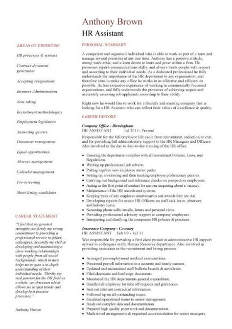 Resume Summary Exles Human Resources Assistant Hr Assistant Resume