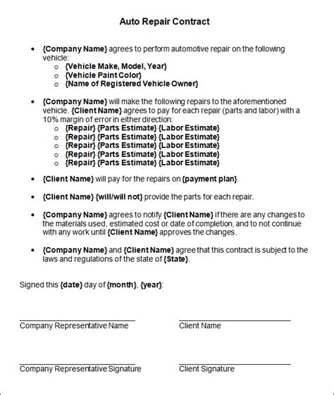 Agreement Letter For Repair Out Of Auto Lease Autos Post