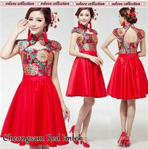 Dress Merah Imlek pakaian imlek dress cheongsam merah cantik modis murah