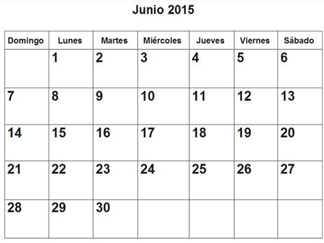 Calendario Junio Calendario De Junio 2015 En Pdf Para Imprimir