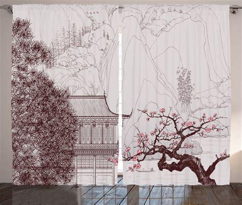 asian print curtains asian temple with sakura trees and mountains pagoda print