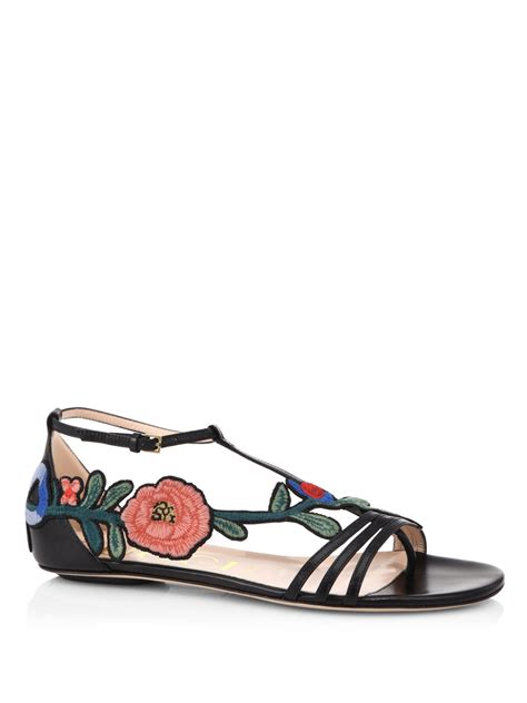 Wedges Gucci Flowers Black Wd05 gucci ophelia floral embroidered flat sandals in black lyst