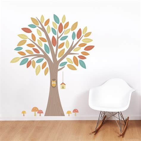 owl tree wall sticker owl in a tree printed wall decal