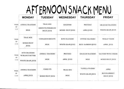 28 daycare snack menu template daycare menu