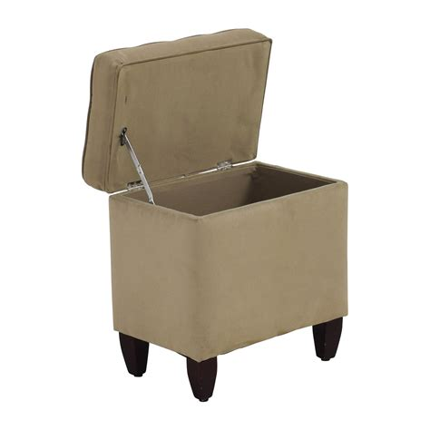 80 Off Beige Tufted Ottoman With Storage Chairs Ottoman Storage Chair