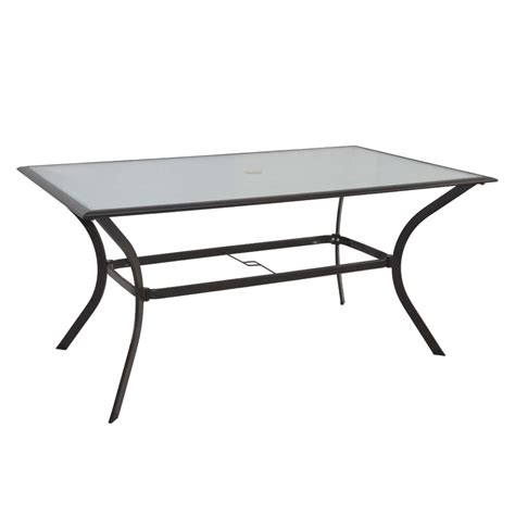 Patio Table Lowes Shop Garden Treasures Eastmoreland Rectangle Dining Table At Lowes