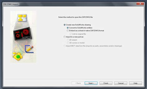 how to open dwg file opening a dxf dwg file in solidworks