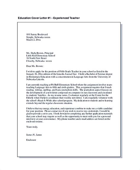 education cover letter template teaching cover letter exles for successful application