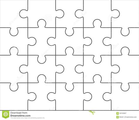 Puzzle Template 20 Pieces jigsaw puzzle blank template 4x5 twenty pieces stock