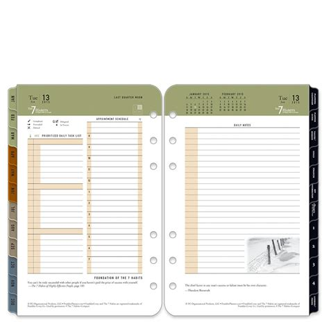 franklin covey templates pdf 7 habits ring bound daily planner franklincovey